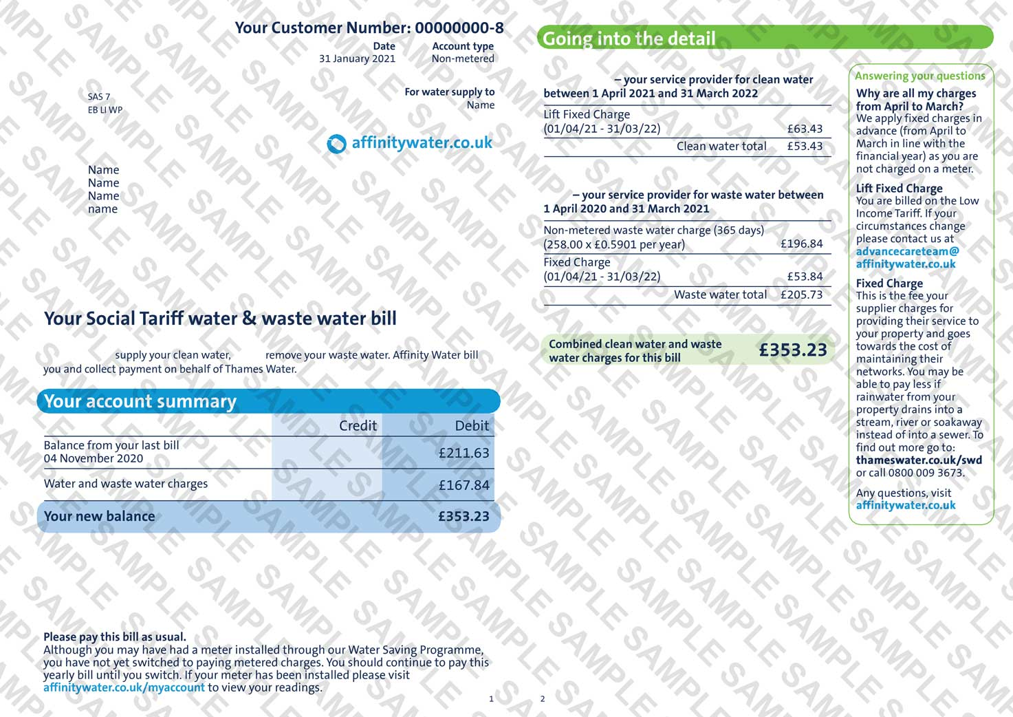 Affinity Water Utility Bill
