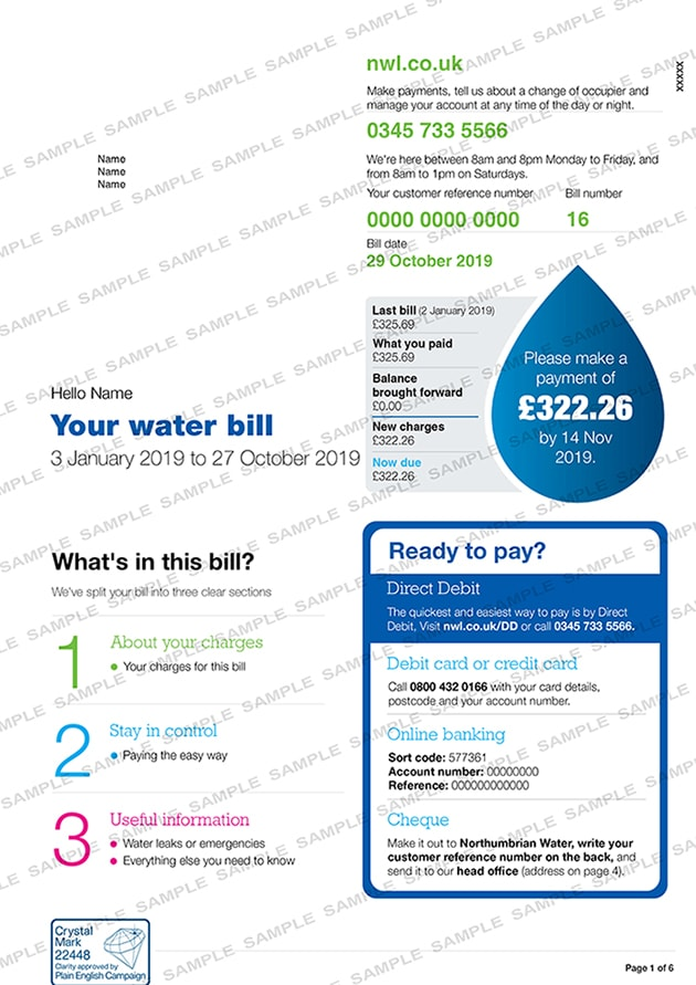 Northumbrian Living  Water Utility Bill